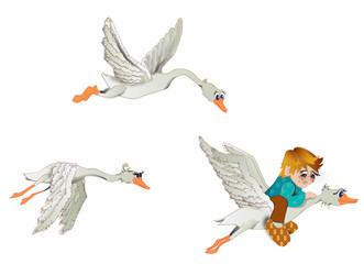 The boy flies on a goose