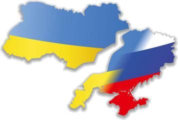 Landkarte Ukraine geteilt