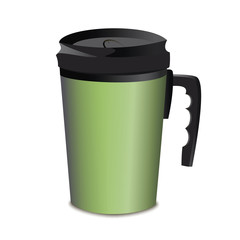 green metal thermos cup comfortable handle