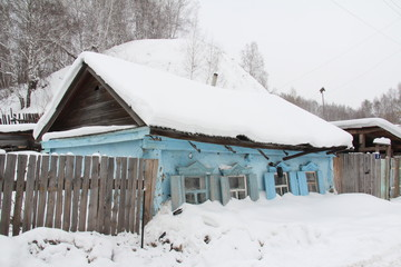 Beautiful example of local architecture in a village in Russia