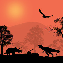Dinosaurs silhouettes in beautiful landscape © Balint Radu
