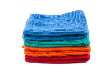 Pack of color towels. Isolated