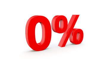red symbol or icon with 0%