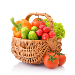 Vegetables in the wicker basket