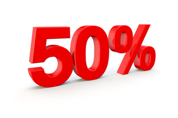 50% number in red on a white background