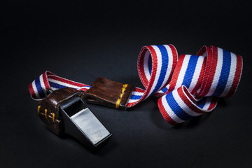 whistles with Thailand national flag lanyard