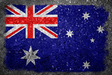 Australian Flag Painted on Grunge Concrete Wall