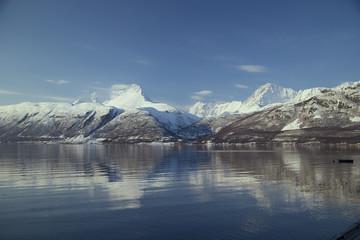 Norwegischer Fjord im Winter