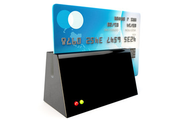 credit card reader, card being security swiped
