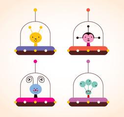 cute aliens in spaceships kids design elements set