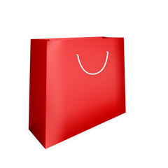 bright red shopping bag on a white background