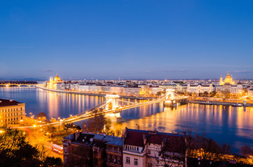 Budapest, panorama at night