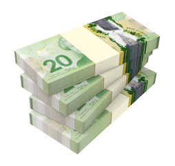 Canadian dollars money isolated on white background.