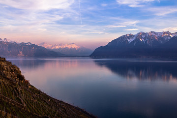 Lake Geneva against the backdrop of the Alps, Switzerland