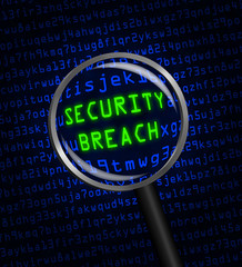 SECURITY BREACH in green revealed in blue computer code through