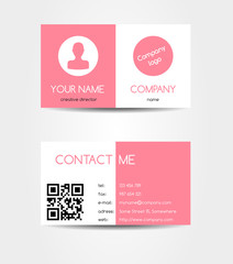 Two sided pink business card