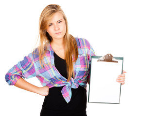 angry girl with a clipboard