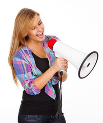 young woman screaming with megaphone