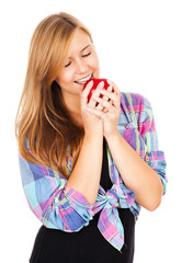 beautiful teen woman with apple