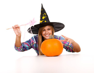 halloween, witch woman with pumpkin, smiling