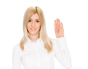 Woman makes hand  sign salute