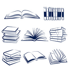 Set of books hand drawn.Vector illustration