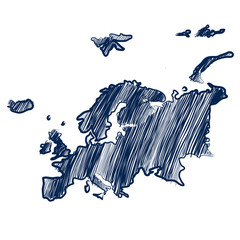 Europe america map hand drawn background vector