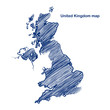 United Kingdom map hand drawn background vector,illustration