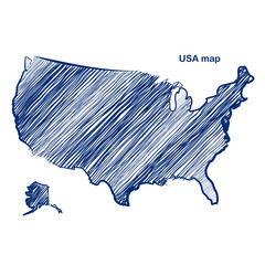 USA map hand drawn background vector,illustration