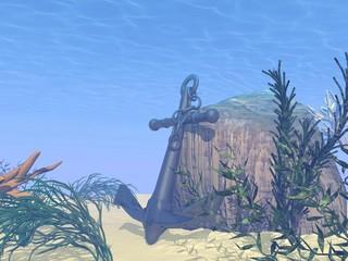Underwater anchor - 3D render