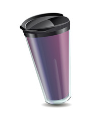 purple mug thermos with plastic shell lid for hot drinks