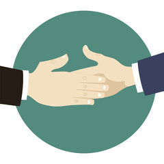 Two businessmen hands handshake ready to