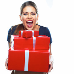 Happy woman present gift box.