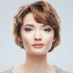 Young woman close up face beauty portrait.Short Hair style. Fem