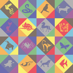 Vector seamless background. Animals.