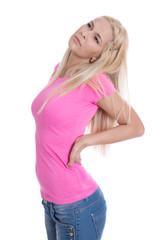 Junge Frau isoliert mit Rückenschmerzen