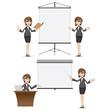 cartoon businesswoman with presentation board set