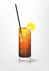 Realistic illustration of the Long Island cocktail