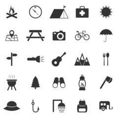 Camping icons on white background