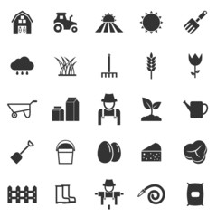 Farming icons on white background