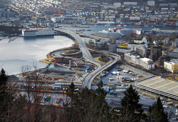 Multi-level road interchange in Bergen, Norway