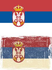 Serbian grunge flag. Vector illustration.