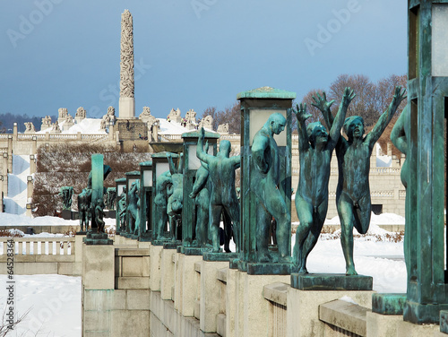 Leinwanddruck Bild Sculpture at Vigeland Park in Oslo, Norway