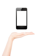 Female hand presents blank smart phone