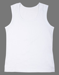 Sleeveless unisex shirt isolated on gray