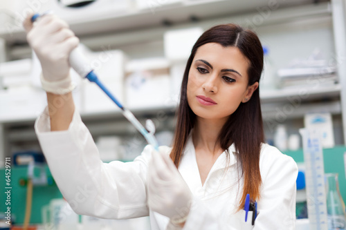 Female scientist doing a test in a laboratory