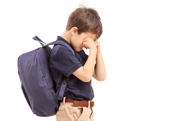 Schoolboy crying