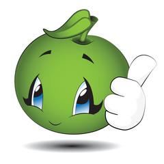 Little Green Kawaii Apple
