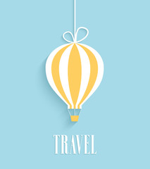 Travel card with hanging air balloon.