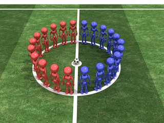 Players stand in a circle #1
